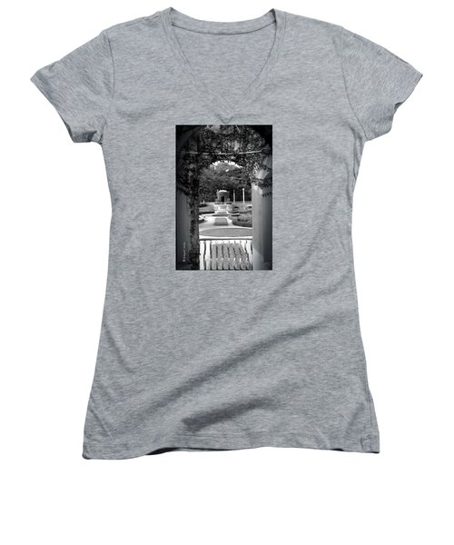 Vizcaya Garden Women's V-Neck T-Shirt (Junior Cut) by Edgar Torres