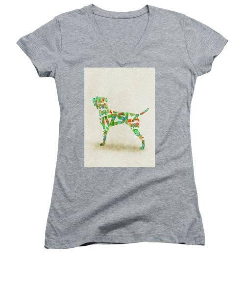 Women's V-Neck T-Shirt featuring the painting Vizsla Watercolor Painting / Typographic Art by Inspirowl Design