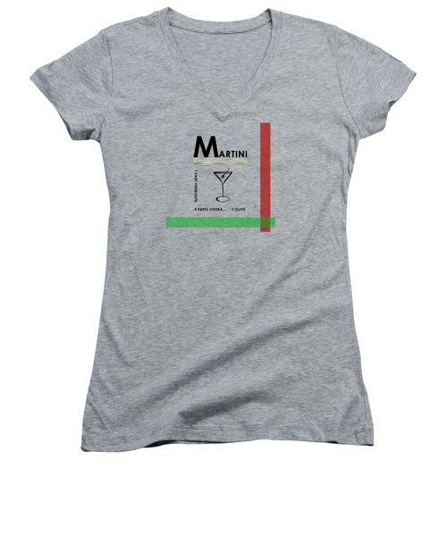 Vodka Martini Women's V-Neck T-Shirt (Junior Cut) by Mark Rogan
