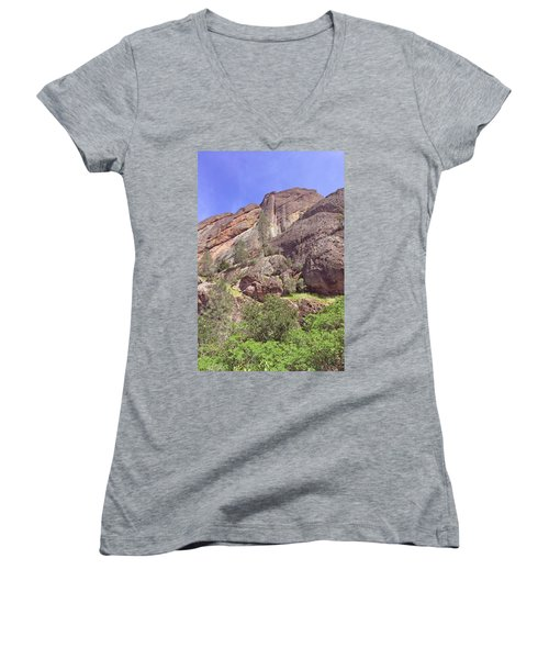 Women's V-Neck T-Shirt (Junior Cut) featuring the photograph Volcanic Colors by Art Block Collections