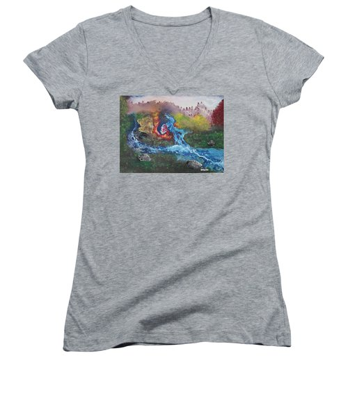 Volcano Delta Women's V-Neck T-Shirt (Junior Cut) by Antonio Romero