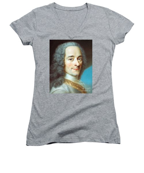 Women's V-Neck T-Shirt (Junior Cut) featuring the painting Voltaire by Pg Reproductions