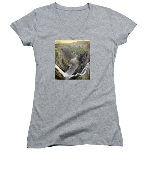 Voringsfossen Waterfall And Canyon Women's V-Neck T-Shirt (Junior Cut) by IPics Photography
