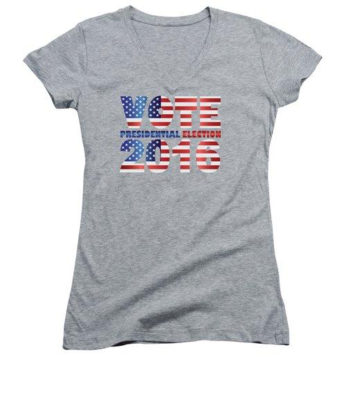 Vote 2016 Usa Presidential Election Illustration Women's V-Neck T-Shirt (Junior Cut) by Jit Lim