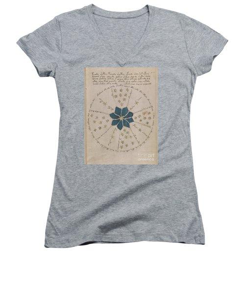 Voynich Manuscript Astro Rosette 2 Women's V-Neck (Athletic Fit)
