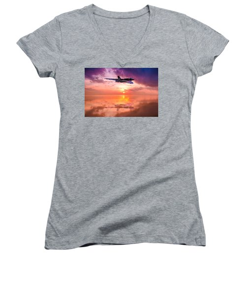 Vulcan Dawn Colour Women's V-Neck T-Shirt (Junior Cut) by Ken Brannen
