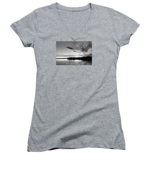 Women's V-Neck T-Shirt (Junior Cut) featuring the digital art Vulcan Low Over A Sunset Lake Sunset Lake Bw by Gary Eason