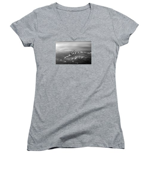 Vulcan Over The Channel Black And White Version Women's V-Neck