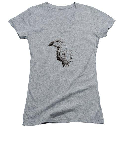 Vulture Head Women's V-Neck T-Shirt (Junior Cut) by Veronika Vrestalova