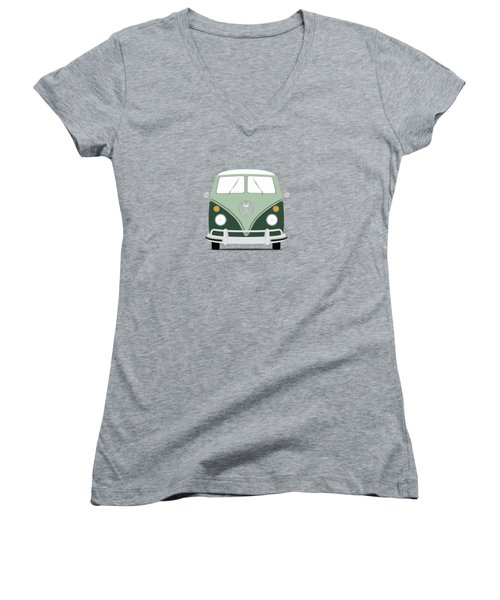 Vw Bus Green Women's V-Neck T-Shirt