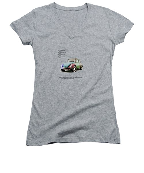 Vw Parts Women's V-Neck T-Shirt (Junior Cut) by Mark Rogan
