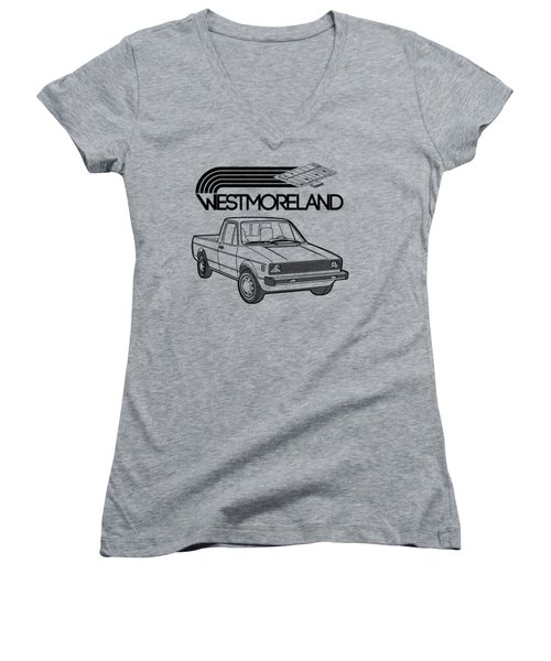 Vw Rabbit Pickup - Westmoreland Theme - Black Women's V-Neck T-Shirt