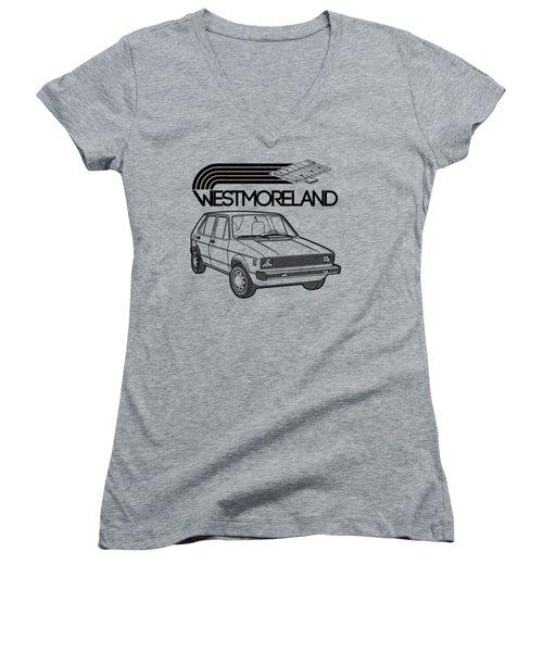 Vw Rabbit - Westmoreland Theme - Black Women's V-Neck T-Shirt (Junior Cut)