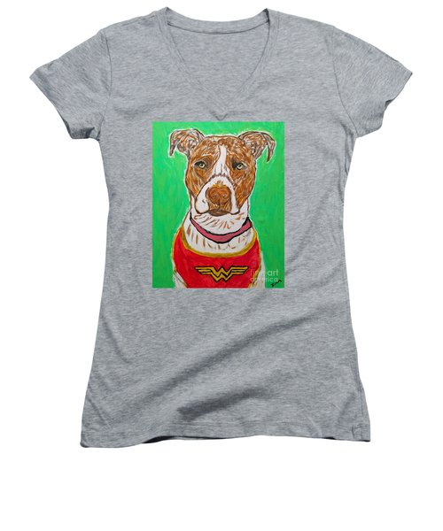 Women's V-Neck T-Shirt (Junior Cut) featuring the painting W Boy by Ania M Milo