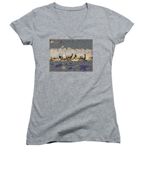 Women's V-Neck T-Shirt (Junior Cut) featuring the mixed media Wacky Philly Skyline by Trish Tritz