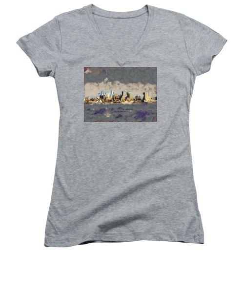 Wacky Philly Skyline Women's V-Neck T-Shirt (Junior Cut) by Trish Tritz