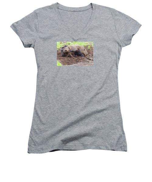 Waddya Want Women's V-Neck T-Shirt (Junior Cut) by Harold Piskiel