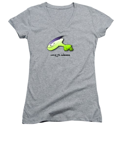 Women's V-Neck T-Shirt (Junior Cut) featuring the drawing Waggah by Uncle J's Monsters