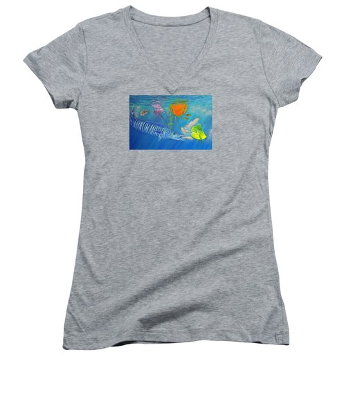 Wahoo Dolphin Painting Women's V-Neck T-Shirt