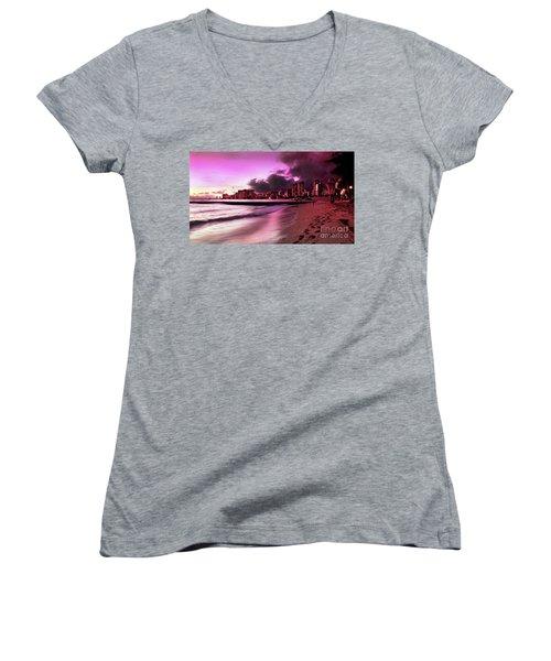 Waikiki Twilight Women's V-Neck T-Shirt