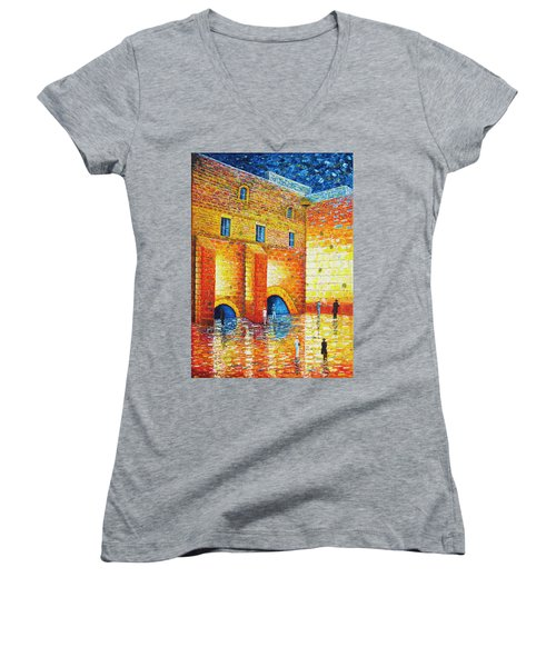 Women's V-Neck featuring the painting Wailing Wall Original Palette Knife Painting by Georgeta Blanaru