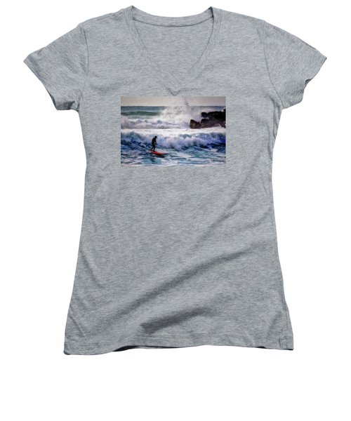 Women's V-Neck T-Shirt (Junior Cut) featuring the photograph Waimea Bay Surfer by Jim Albritton