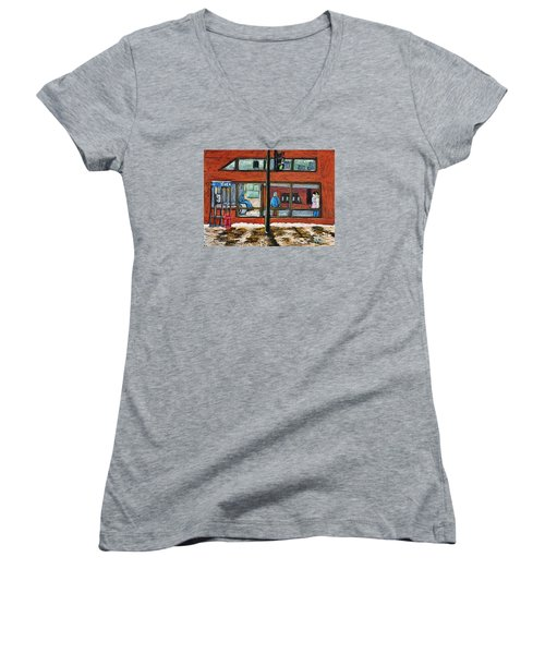 Waiting At The Metro Women's V-Neck T-Shirt (Junior Cut) by Reb Frost