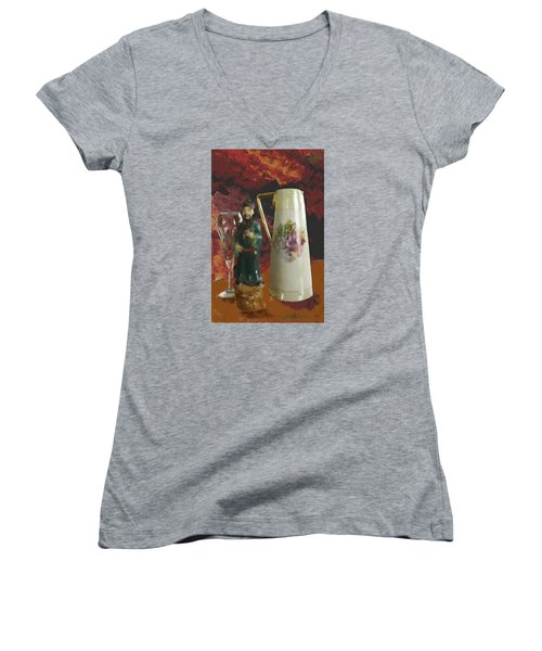 Waiting Women's V-Neck T-Shirt (Junior Cut) by Dale Stillman
