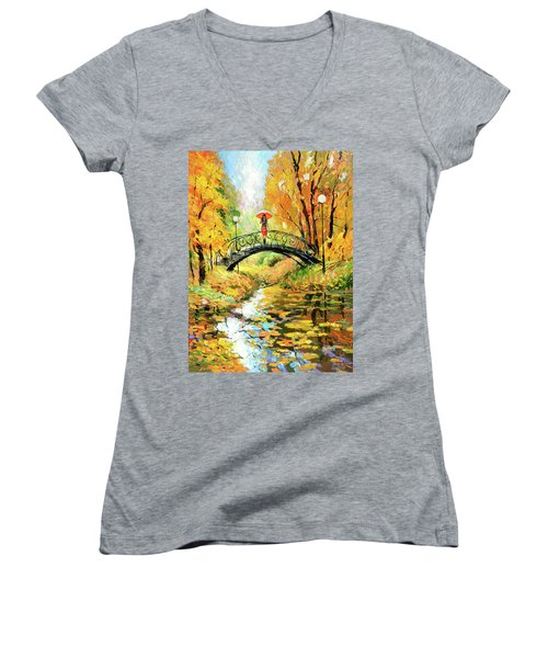 Women's V-Neck T-Shirt (Junior Cut) featuring the painting Waiting by Dmitry Spiros
