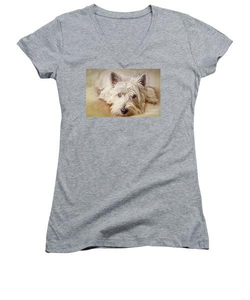 Waiting For Papa Women's V-Neck T-Shirt (Junior Cut) by Jean OKeeffe Macro Abundance Art