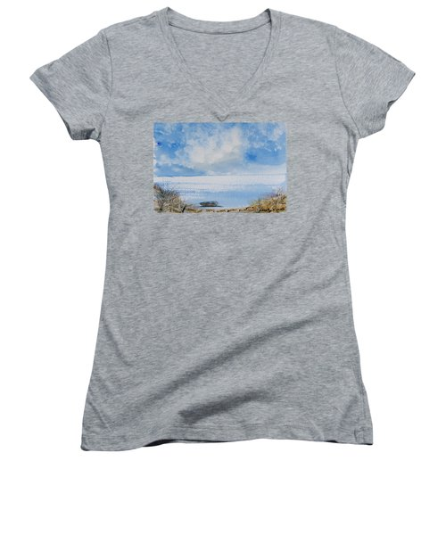 Women's V-Neck featuring the painting Waiting For Sailor's Return by Dorothy Darden