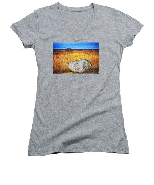 Waiting For Summer Women's V-Neck T-Shirt (Junior Cut) by Tricia Marchlik