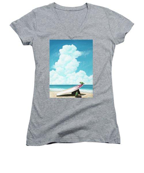 Waiting For Surf Women's V-Neck