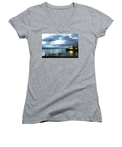 Waiting For The Ferry Women's V-Neck T-Shirt (Junior Cut) by Ronda Broatch