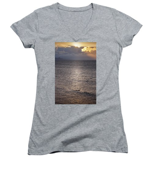 Waiting For The Last Wave Of The Day Women's V-Neck