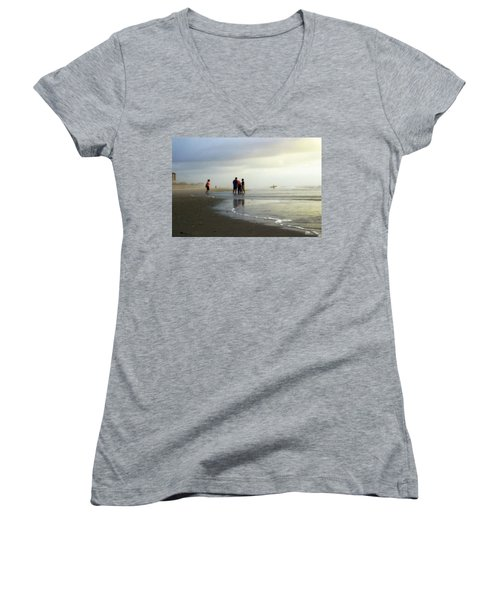 Women's V-Neck T-Shirt (Junior Cut) featuring the photograph Waiting For The Sun by Phil Mancuso