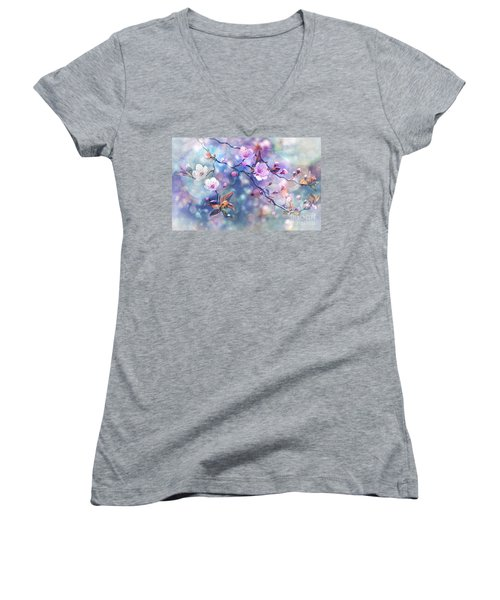 Waiting For Tomorrow Women's V-Neck T-Shirt (Junior Cut) by Agnieszka Mlicka