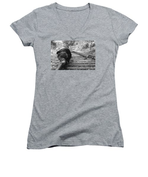 Waiting On The Rails Women's V-Neck T-Shirt