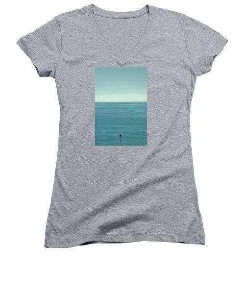 Waiting Women's V-Neck T-Shirt (Junior Cut) by Peter Tellone