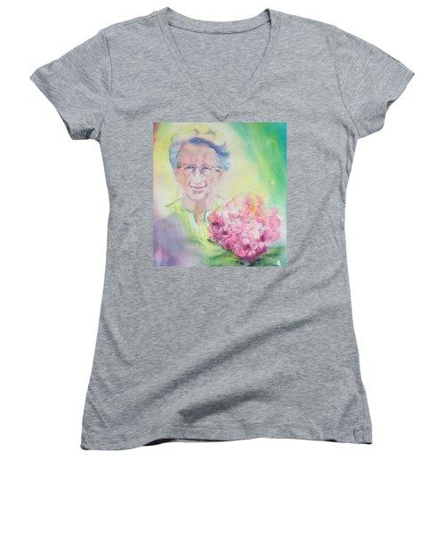 Waiting To Be Called Home, Circa 1978 Women's V-Neck T-Shirt (Junior Cut) by Tara Moorman