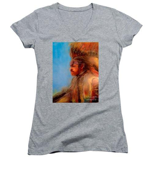 Women's V-Neck T-Shirt (Junior Cut) featuring the painting Wakantanka Maka Kin Kaye by FeatherStone Studio Julie A Miller