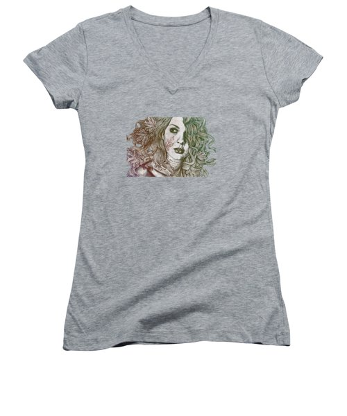 Wake - Autumn - Street Art Woman With Maple Leaves Tattoo Women's V-Neck (Athletic Fit)