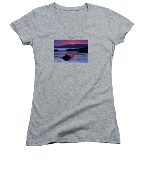 Women's V-Neck T-Shirt (Junior Cut) featuring the photograph Wake Up In Lake Tahoe  by Sean Sarsfield