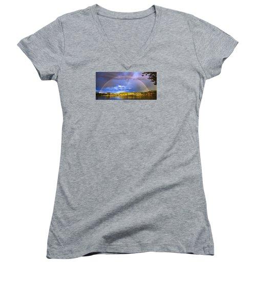Women's V-Neck T-Shirt (Junior Cut) featuring the photograph Wake Up Rainbow  by Kadek Susanto