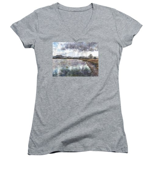 Walden Ponds On An April Evening Women's V-Neck T-Shirt (Junior Cut) by Anne Gifford