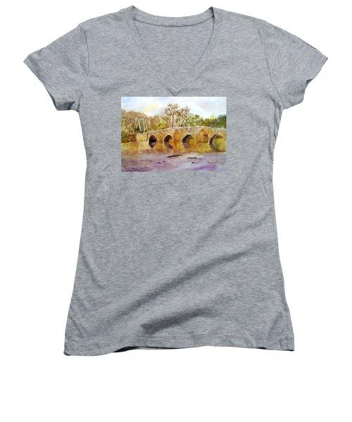 Wales Dipping Bridge Women's V-Neck T-Shirt (Junior Cut) by Larry Hamilton