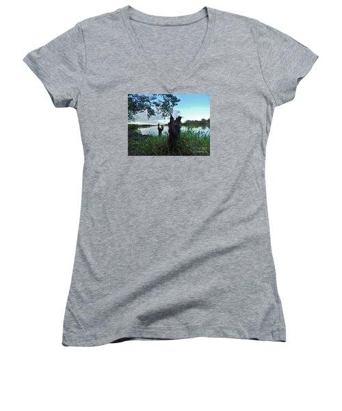 Walk Along The River In Verdun Women's V-Neck T-Shirt (Junior Cut) by Reb Frost