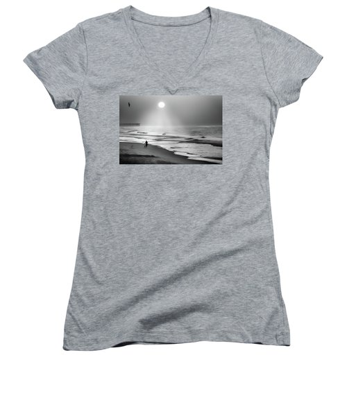 Walk Beneath The Moon Women's V-Neck T-Shirt (Junior Cut) by Karen Wiles