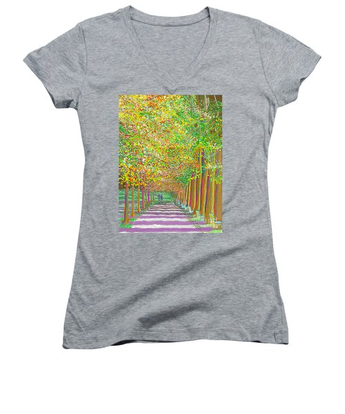 Women's V-Neck featuring the painting Walk In Park Cathedral by Hidden Mountain