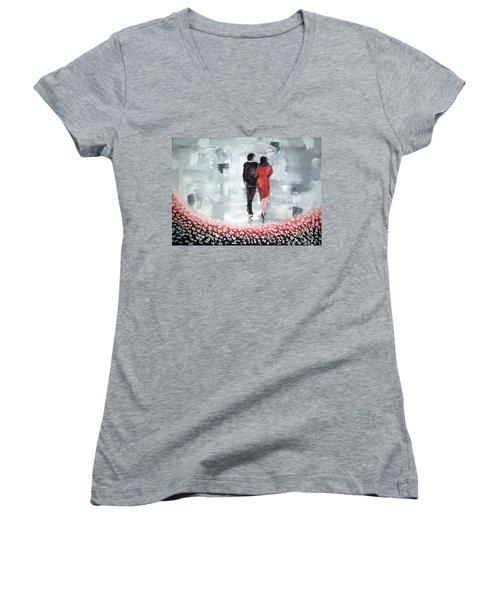 Women's V-Neck T-Shirt (Junior Cut) featuring the painting Walk In The Garden by Raymond Doward
